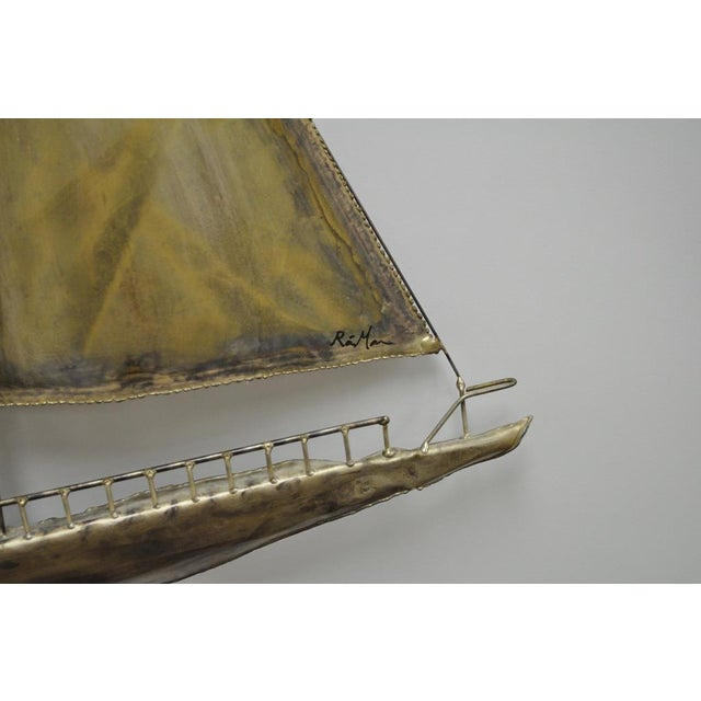 Vintage RaMan Brutalist Mid Century Modern Clipper Ship Wall Sculpture Jere Style - Image 9 of 11