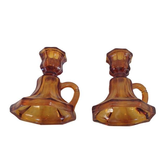 Mid-Century Amber Glass Candle Holders - A Pair - Image 2 of 6