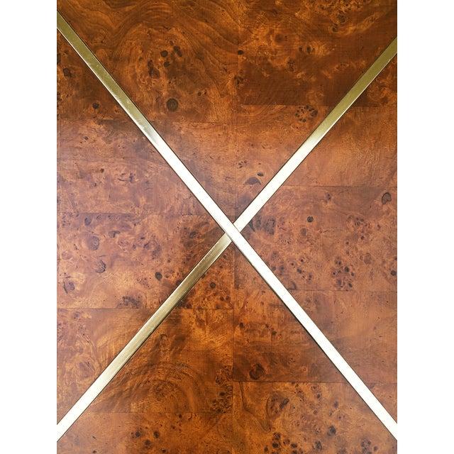 Milo Baughman Burlwood and Brass End Table - Image 6 of 9
