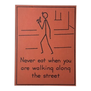"Vintage 1940's Double-Sided ""Good Manners"" Stick Figure Poster - Never Eat/Be a Good Listener"