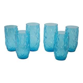 Vintage Blue Harlequin Cocktail Glasses - Set of 6