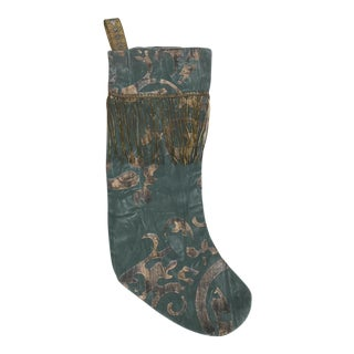 Blue Stenciled Stocking