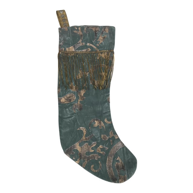 Blue Stenciled Stocking - Image 1 of 4