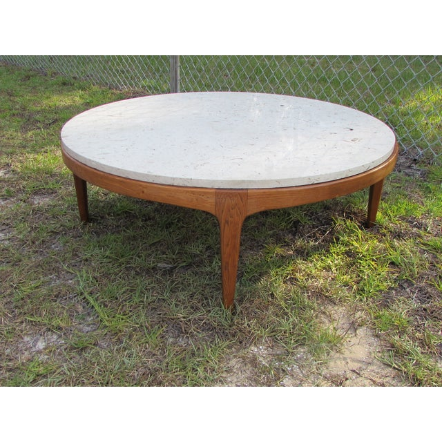 Circular Marble Top Coffee Tables: Danish Modern Round Stone Top Coffee Table By Lane