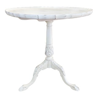 Antique White Carved Piecrust Tilt Top Table