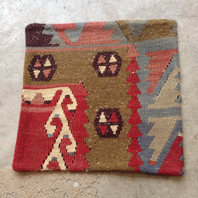 Vintage Red & Brown Kilim Pillow - Image 2 of 5