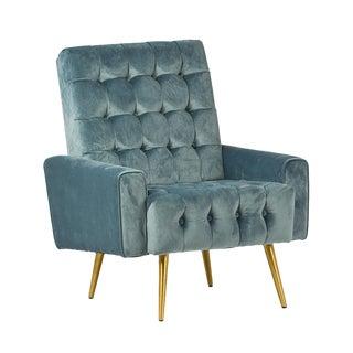 Teal Tufted Velvet Armchair