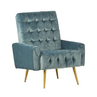 Teal Tufted Velvet Armchair