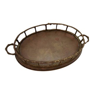 Vintage Brass Bamboo Oval Tray