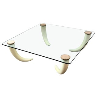 Karl Springer Style Faux Tusk Footed Coffee Table