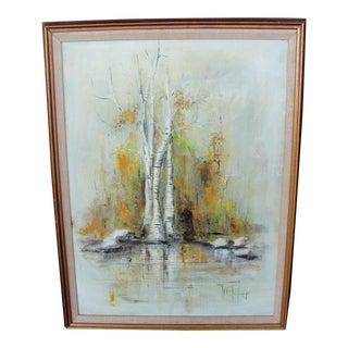 Vintage Mid-Century Impressionist Oil on Canvas Birch Trees