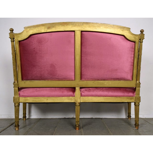 French 19th Century Louis XVI Giltwood Settee - Image 5 of 10