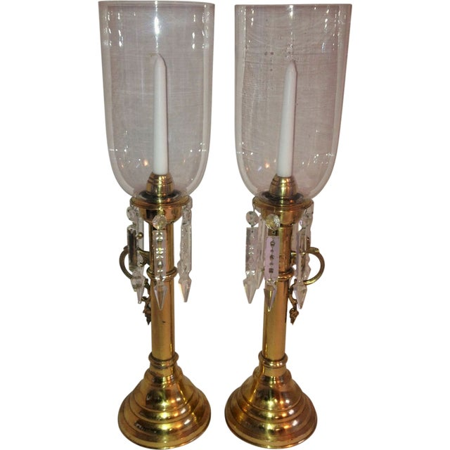 Brass Push Up Hurricane Candle Holders - Pair - Image 1 of 8