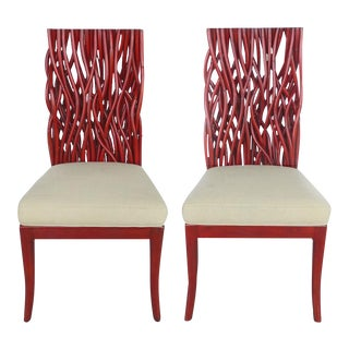 20th Century Red Bent Rattan and Mahogany Chairs, Pair