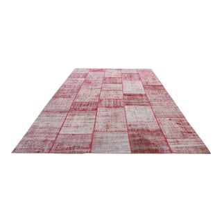 Turkish Vintage Overdyed Patchwork Oushak Rug - 9′7″ × 11′9″