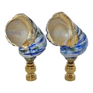 Fiji Blue & Emerald Swirl Shell Finials - Pair