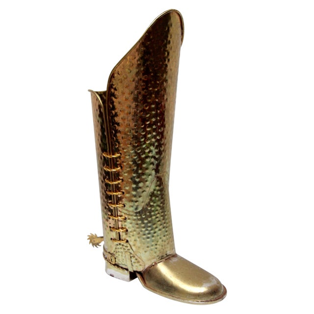 Brass Cowboy Boot Umbrella Stand - Image 1 of 8