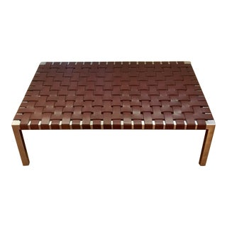 Ralph Lauren Chrome & Woven Leather Bench or Table