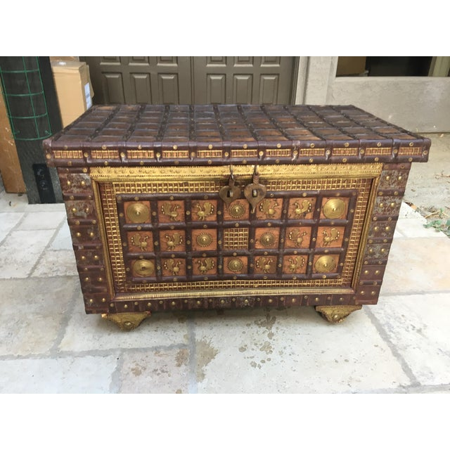 Exotic Chest Richly Adorned With Gleaming Brass Overlays on Copper - Image 2 of 6