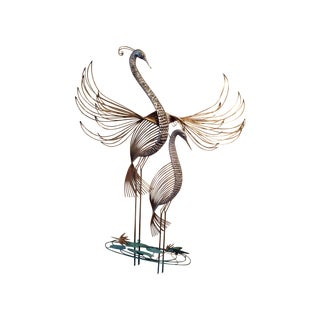 C. Jere Cranes in the Marsh Sculpture - Pair
