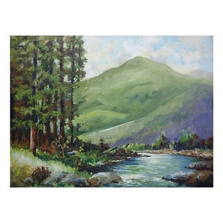 Painting of a River with Green Hills & Trees
