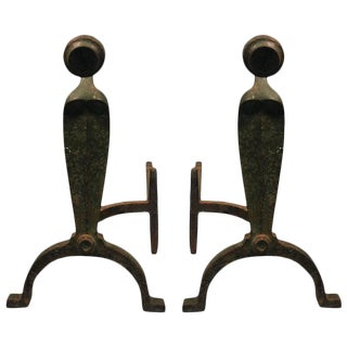 ART DECO PAIR OF ORGANIC ANDIRONS IN BRONZED IRON
