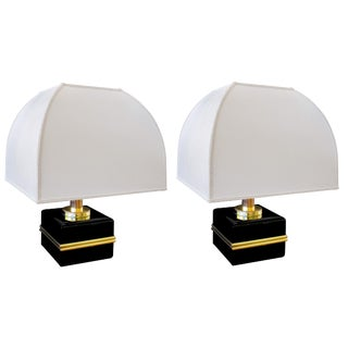 Stylish & Unique Pair of Italian Black Lacquered Cube Lamps by Bicchielli, Italy