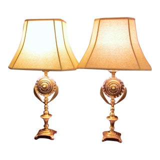 Neoclassical Design Brass & Glass Lamps - Pair
