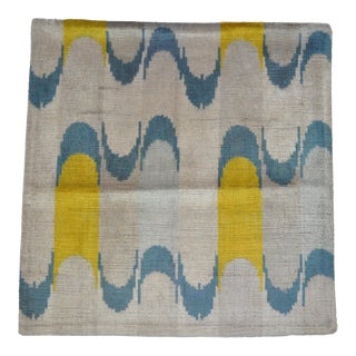 Yellow and Blue Wavy Motif Silk Velvet Pillow