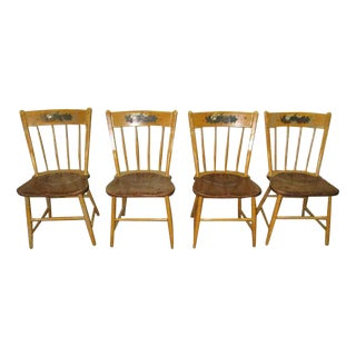 American Carved Wood Country Chairs - Set of 4