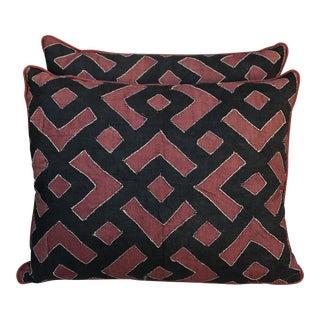 Black & Rust Kuba Cloth Pillows - A Pair