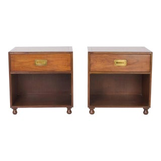 Pair of Signed Baker Walnut Nightstands