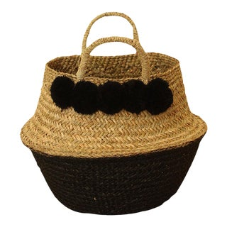 Panier Sea Grass Belly Basket With Black Pom Poms