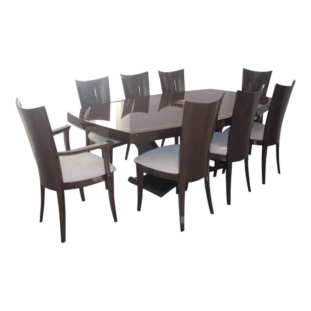 walnut high gloss dining room table chairs chairish