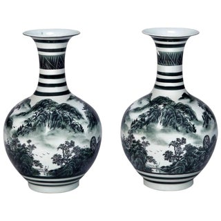 Pair of Green and White Chinese Porcelain Vases