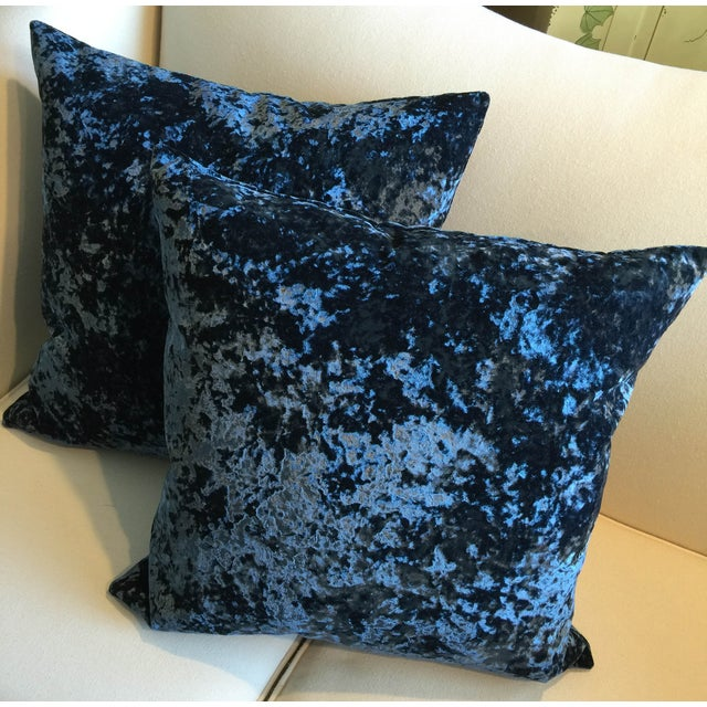 Vintage 1940's Royal Blue Velvet Pillows - Pair - Image 3 of 3