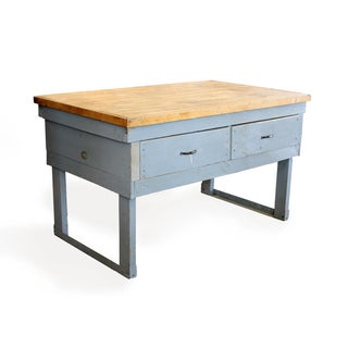 Large Hardwood Top Work Table