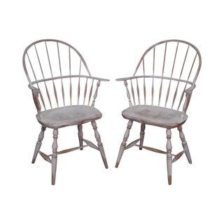 Distressed Painted Windsor Style Arm Chairs - A Pair