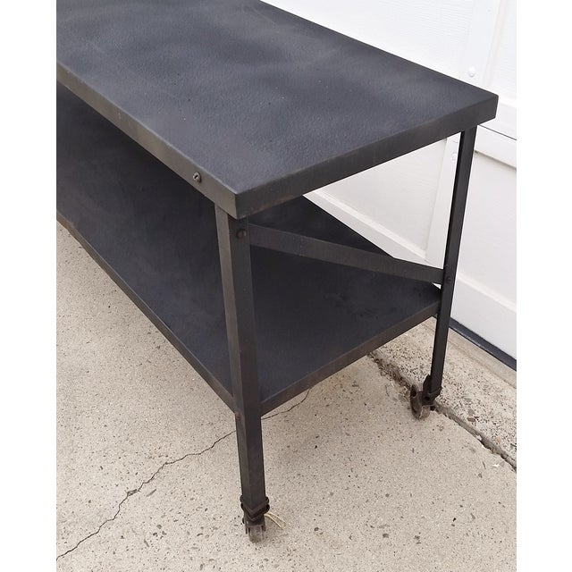 industrial metal console table on casters chairish. Black Bedroom Furniture Sets. Home Design Ideas