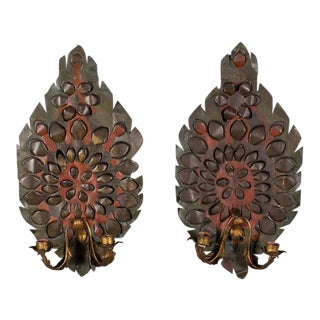 Pair of Antique French Tôle Two Arm Sconces circa 1880
