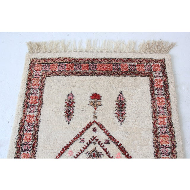 Vintage Pink & White Moroccan Rug - 3′11″ × 5′10″