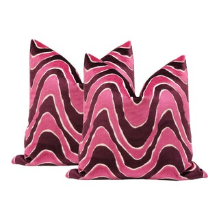 "22"" Sangria Velvet Waves Pillows - a Pair"
