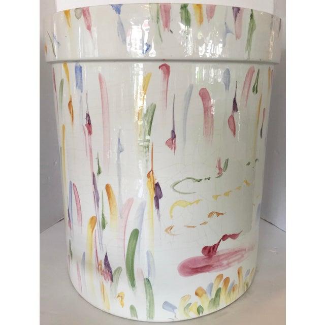Italian Hand Painted Ceramic Stool - Image 5 of 7