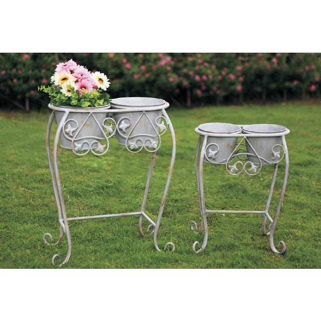Vintage Wrought Iron Iron Plant Stand - Pair - Image 3 of 6