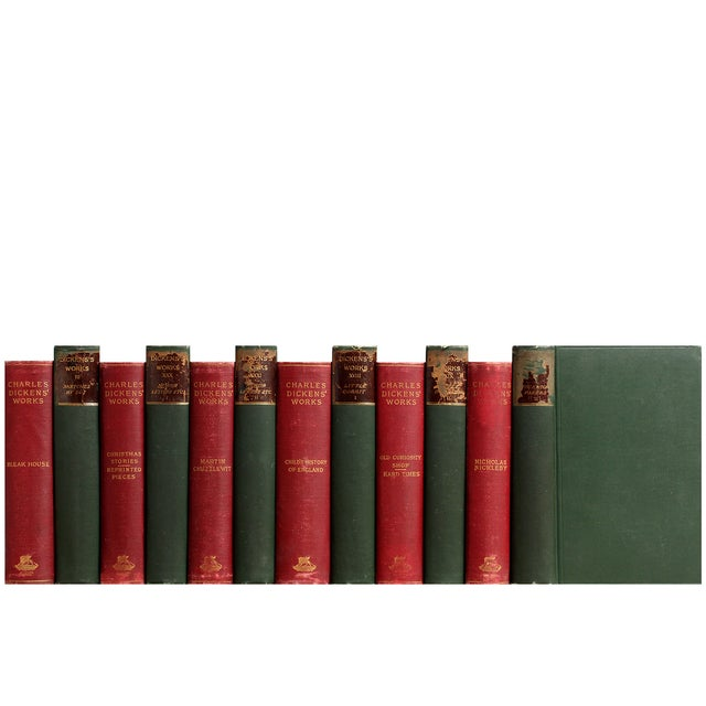 Image of Antique Red & Green Dickens Books - S/12