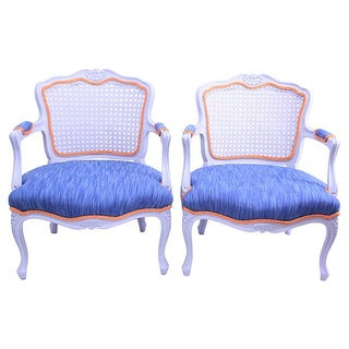 French Provincial Style Cane Back Fauteuil Chairs