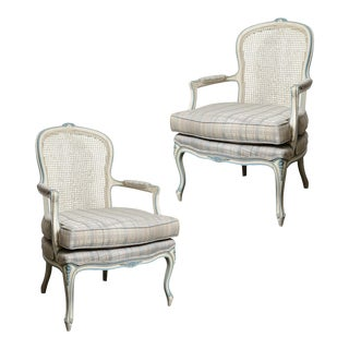 French Painted Blue & White Cane Back Chairs - a Pair