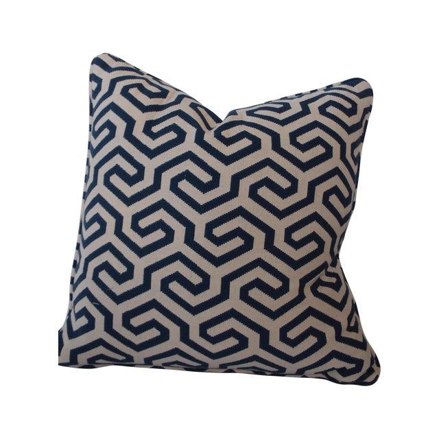 Navy Geometric Schumacher Pillow - Image 1 of 5