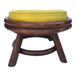 Mid-Century Modern Yellow Low Swivel Stool