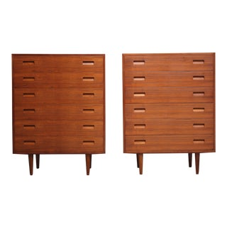 Pair of Teak Highboy Chest of Drawers by Poul Hundevad
